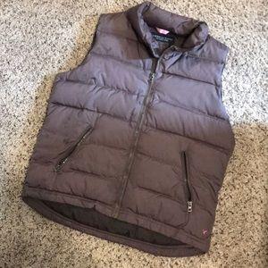 Olive colored zip up vest
